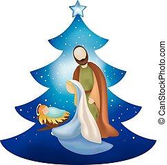 bleu, famille, saint, arbre, isolé, scène, nativité, fond, noël