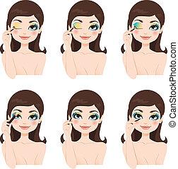 bleu, fantasme, yeux, maquillage