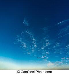bleu, fantastique, nuages, ciel, contre