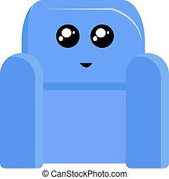 bleu, fauteuil, blanc, arrière-plan., vecteur, illustration