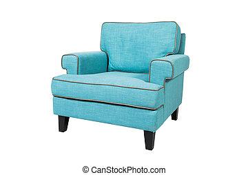 bleu, fauteuil, blanc, isolé, fond