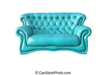 bleu, fauteuil cuir, isolé, luxe, fond, blanc