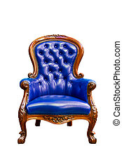bleu, fauteuil cuir, luxe, isolé