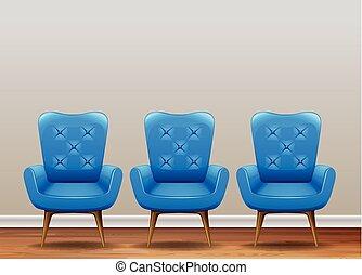 bleu, fauteuil, ensemble, classique