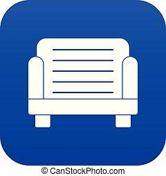 bleu, fauteuil, icône, numérique