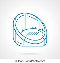 bleu, fauteuil, icône, vecteur, repos, ligne, plat