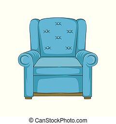 bleu, fauteuil, illustration, main, vecteur, dessiné