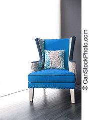 bleu, fauteuil, moderne, tissu