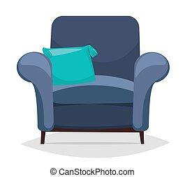 bleu, fauteuil, pillow.