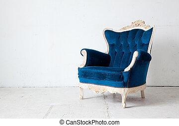bleu, fauteuil, retro
