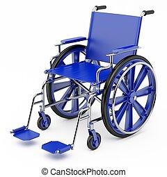 bleu, fauteuil roulant