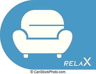 bleu, fauteuil, symbole, relâcher