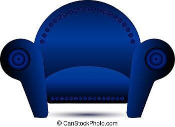 bleu, fauteuil, vecteur, classique, icône