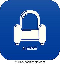 bleu, fauteuil, vecteur, icône