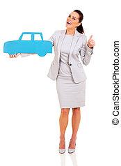 bleu, femme affaires, symbole, tenue, voiture