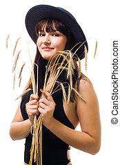 bleu, femme, blé, sourire, chapeau, tas