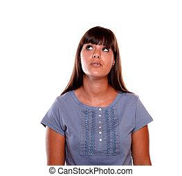 bleu, femme, chemise, jeune, haut, regarder, charmer