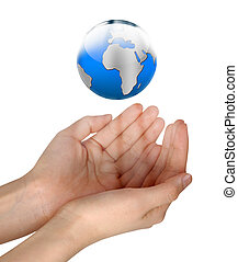 bleu, femme, globe, tenant mains, briller