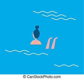 bleu, femme, illustration, eau, vecteur, natation