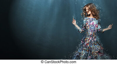 bleu, femme, immersion., profond, fantasme, sea.