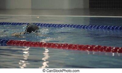 bleu, femme, jeune, eau, lunettes protectrices, brasse, piscine, natation