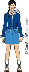 bleu, femme, jupe
