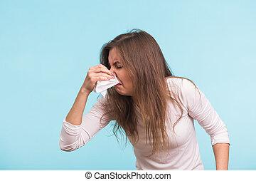 bleu, femme, malade, jeune, isolé, nez, fond, girl, a, handkerchief., liquide