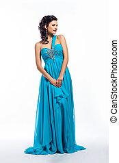 bleu, femme, moderne, long, mode, poser, robe