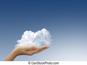 bleu, femme, nuage ciel, mains