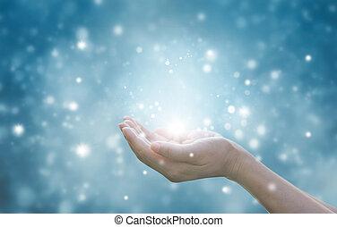 bleu, femme, particule, respecting, fond, mains, prier