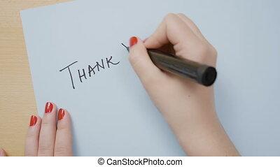 bleu, femme, remercier, écriture, clou, papier, noir, mains, marqueur, polonais, vous, rouges