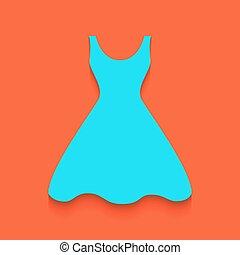 bleu, femme, robe, putted, signe., bas, arrière-plan., flamant rose, vector., ombre, doux, icône
