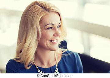 bleu, femme souriant, vêtements, blond, heureux