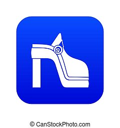 bleu, femmes, icône, chaussure, numérique