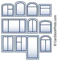 bleu, fenêtre, ensemble, isolé