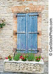 bleu, fenêtre, francais, volets