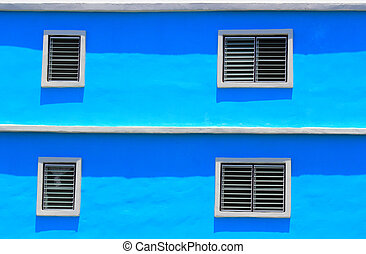 bleu, fenêtre, mur, blanc