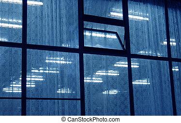 bleu, fenêtre, néons