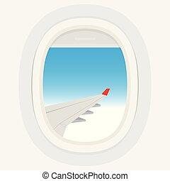 bleu, fenetres, ciel, nuageux, dehors., avion