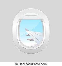 bleu, fenetres, plane., ciel, nuageux, avion., fenêtre, dehors., avion, vue