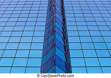 bleu, fenetres, résumé, bureau, verre