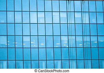 bleu, fenetres, reflet