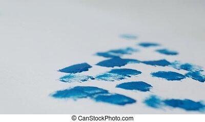 bleu, fetes, dessine, année, année, peinture, neige, homme, feuille, nouveau, noël, gros plan, blanc, célébration