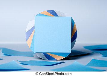bleu, feuille, notes, feuilles, vide, bloc
