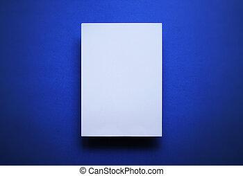 bleu, feuille, papier, fond, blanc, vide