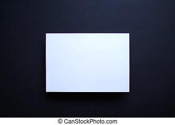 bleu, feuille, sombre, papier, fond, blanc, vide