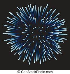 bleu, feux artifice, arrière-plan noir