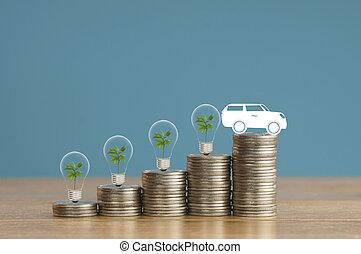 bleu, fiancé, concept, argent, prêt, pièces, feu vert, arbre, papier, tas, voiture achetante, petit, ampoule, bois, doux, fond