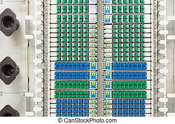 bleu, fibre optique, densité, élevé, connecteurs, vert, sc, étagère
