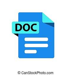 bleu, fichier, format, doc., extension, icône, vecteur